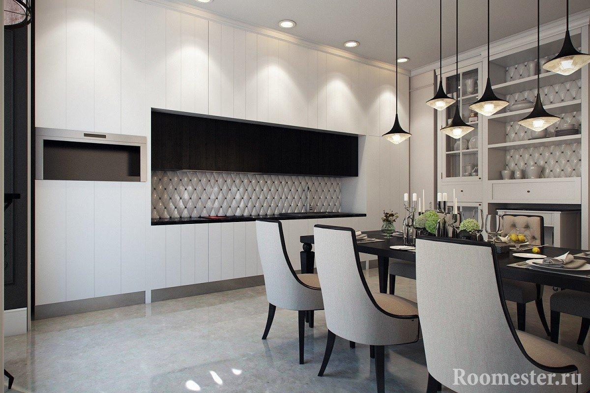 Монохромный дизайн кухни-столовой