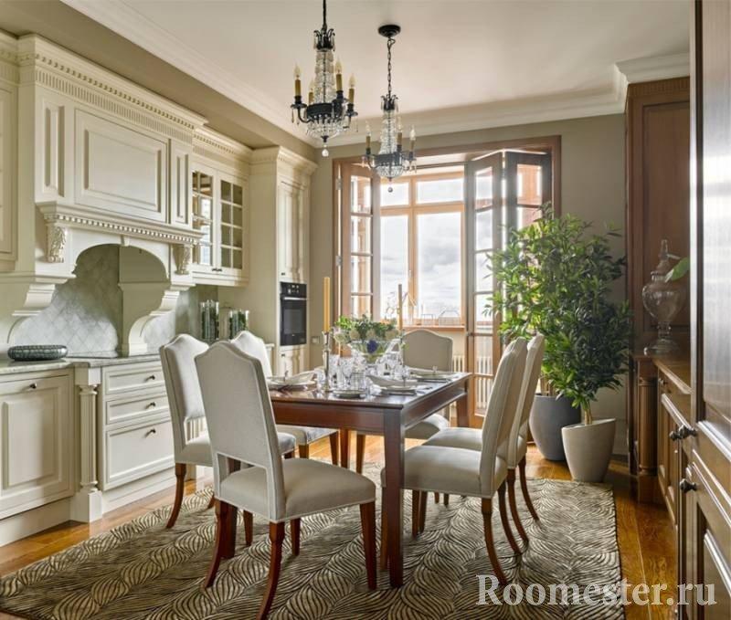 Кухня со столовой в классическом стиле