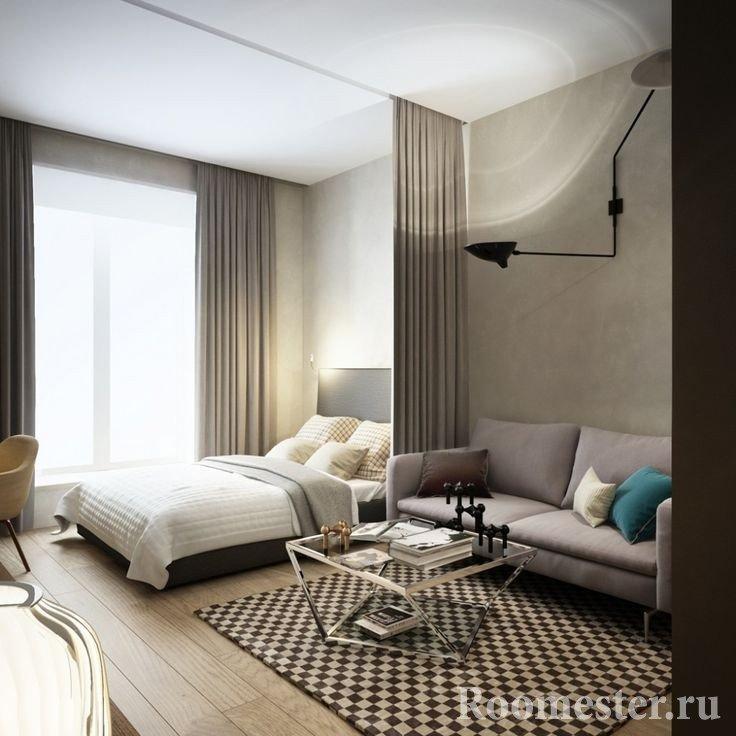 Зонирование в однокомнатной квартире 35 кв м