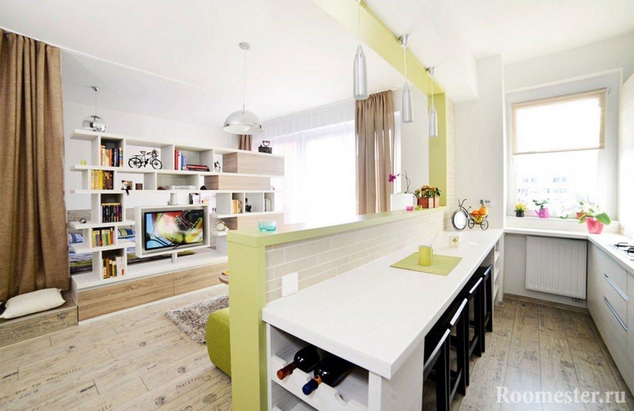 Разделение кухни от гостиной декоративной перегородкой