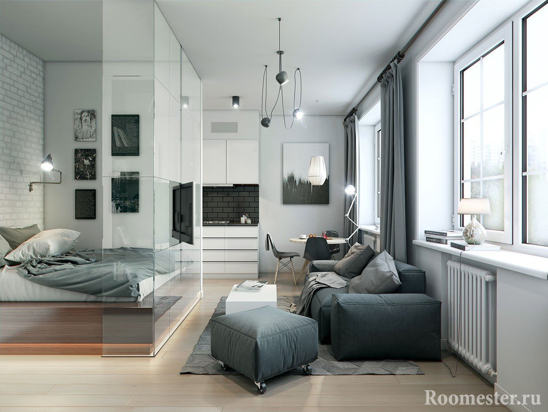 Стеклянные перегородки создают тихую зону в спальном месте