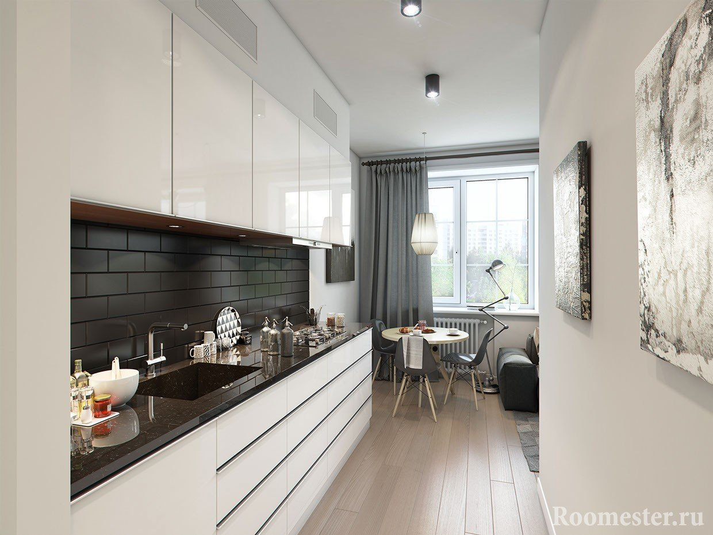 Кухня в длинном коридоре