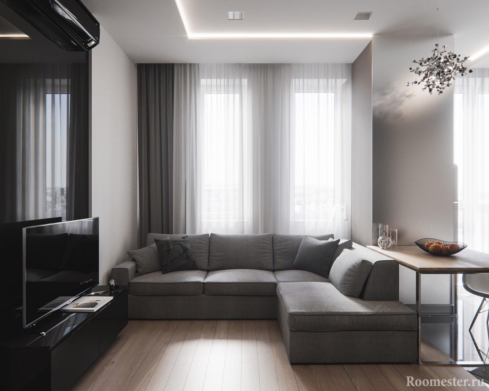 Вид на гостиную со стороны спального места