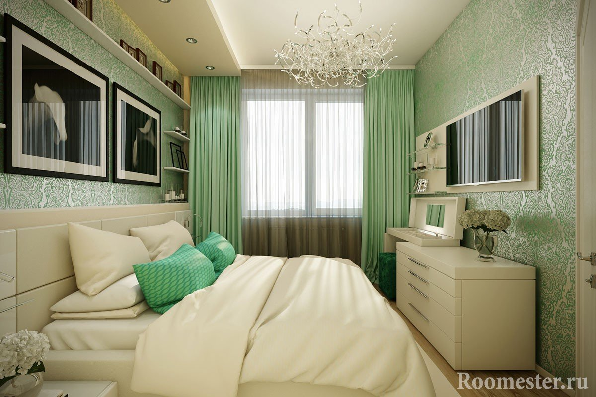 Bedroom in beige and green tones