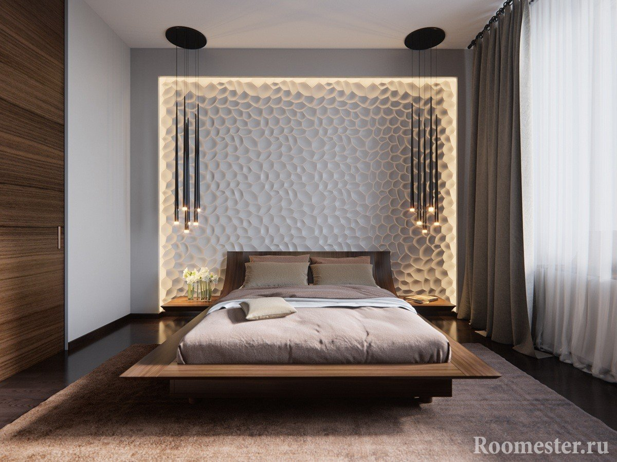 3D panels on the bedroom wall with lighting