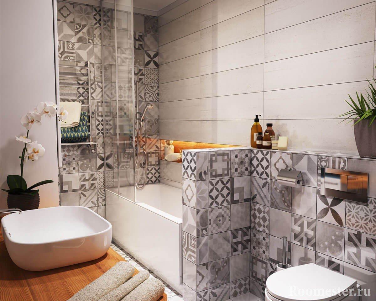Сочетание плитки в маленькой ванной