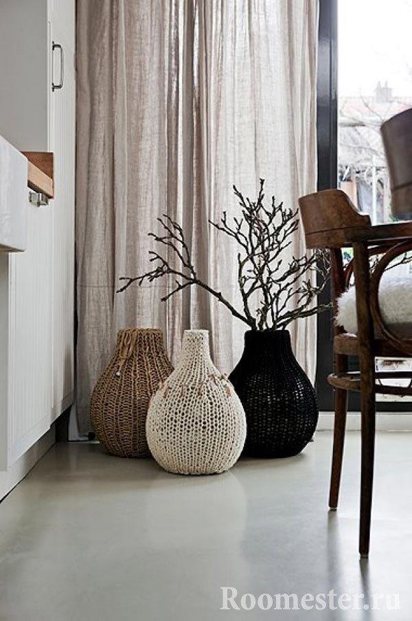 Вязанные чехлы на вазу