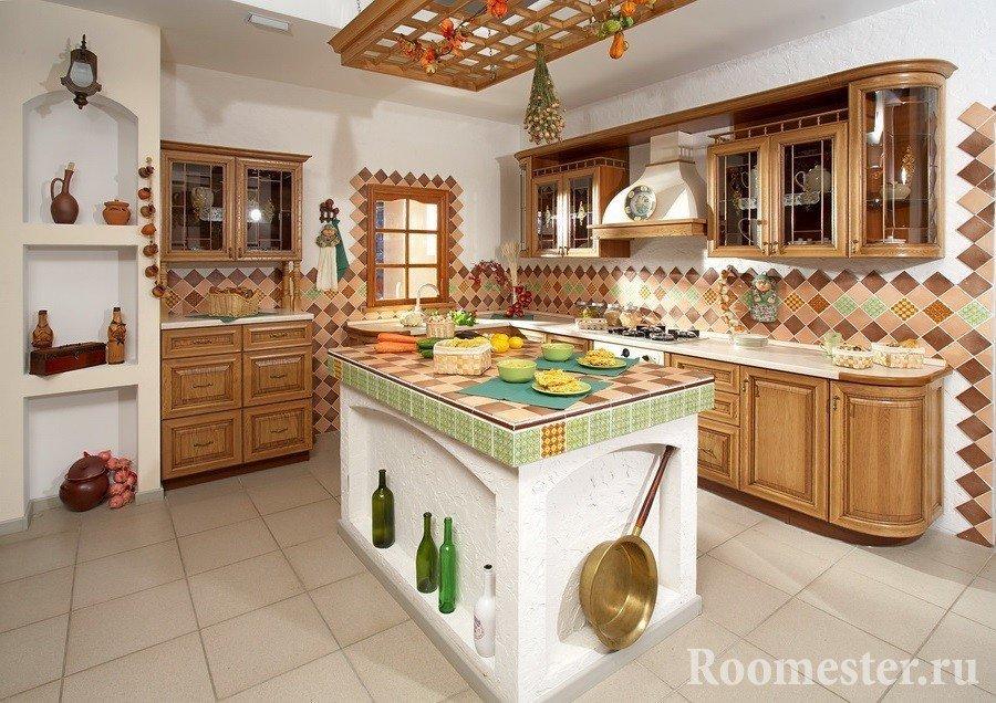 Кухня с островом в русском стиле