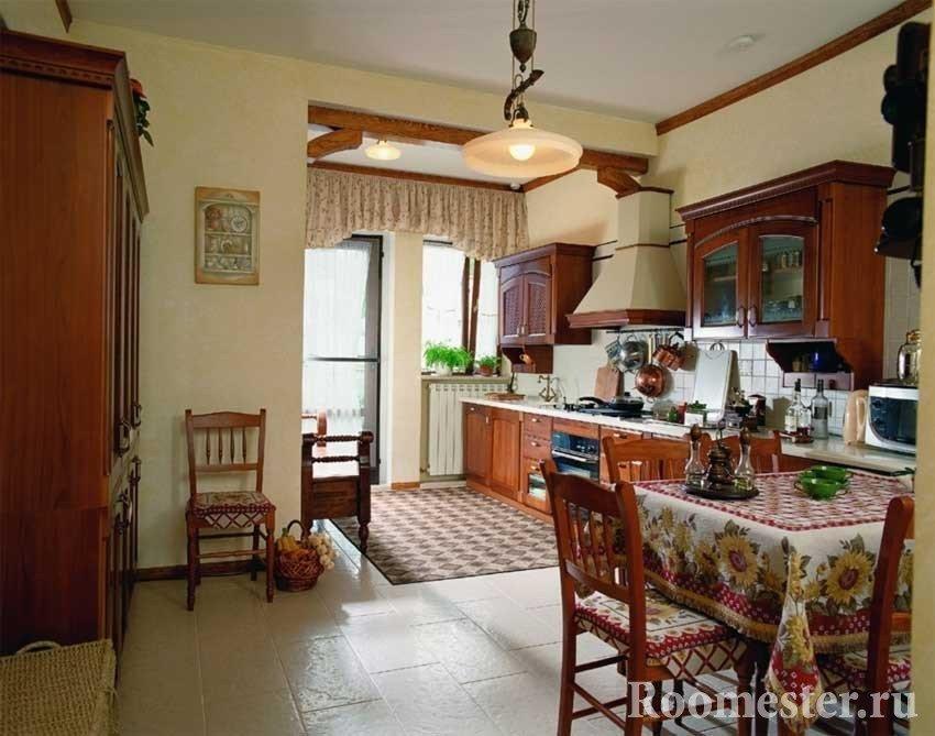 Кухня и столовая в русском стиле