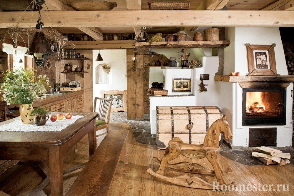 Интерьер дома в стиле русская усадьба