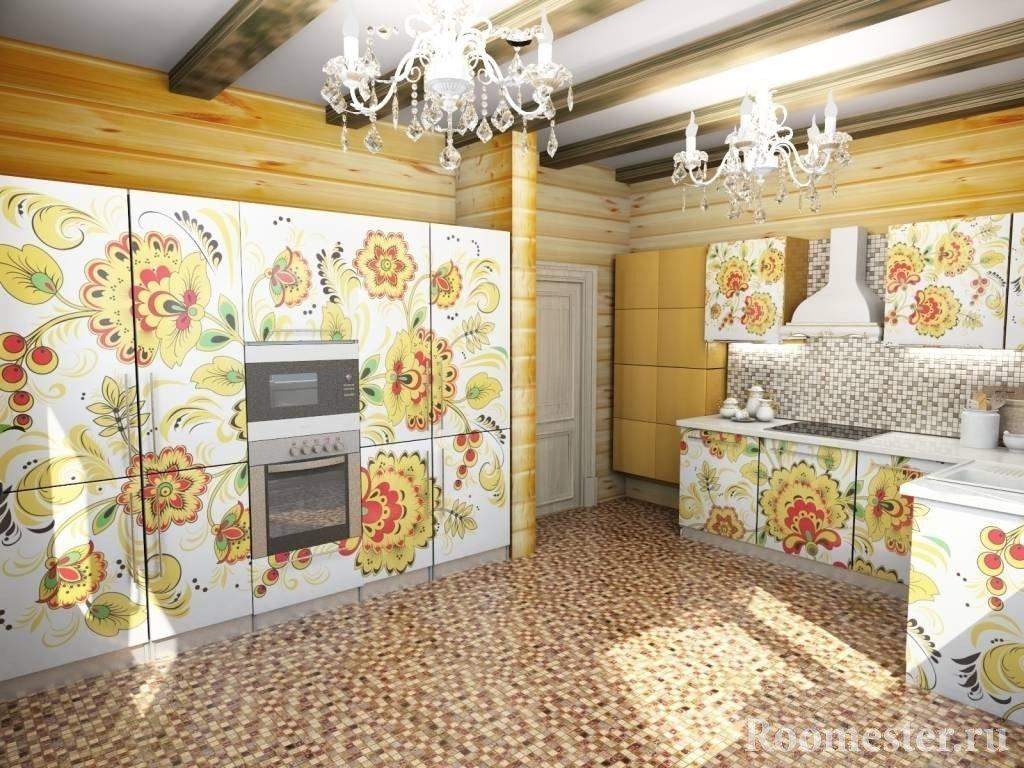Украшение фасадов кухни под роспись