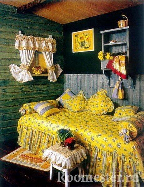 Спальня с текстильным декором под русский дизайн