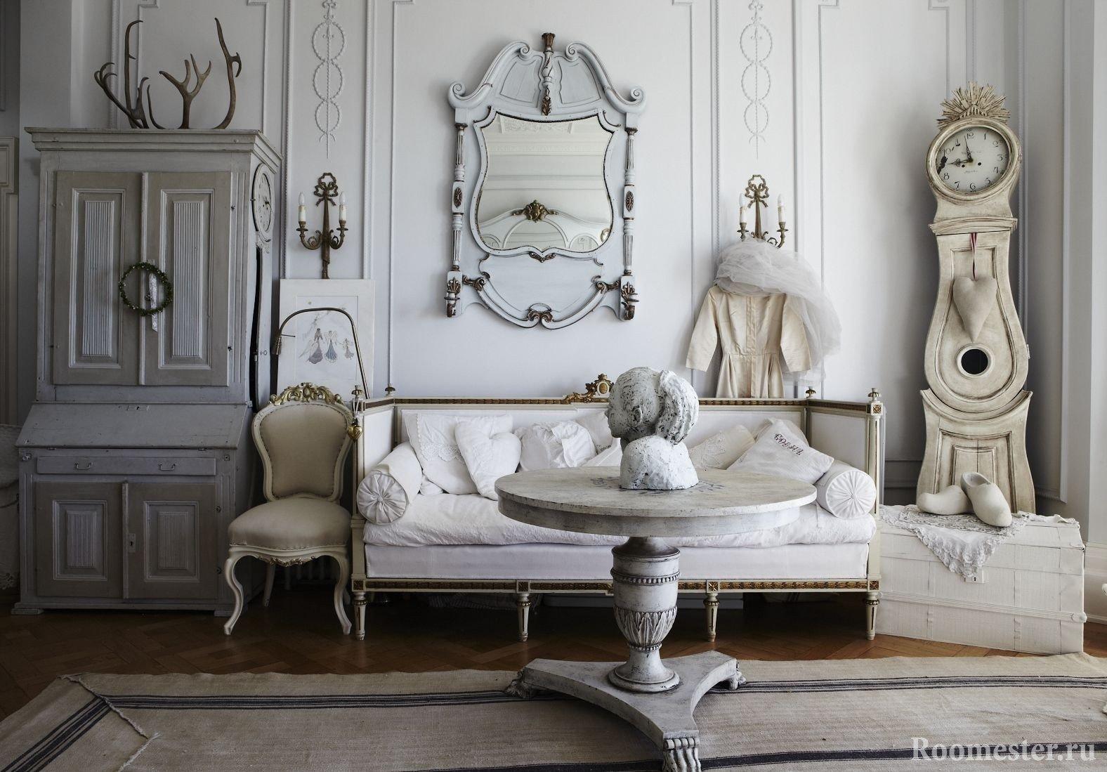 Романтичный стиль шебби шик в интерьере гостиной