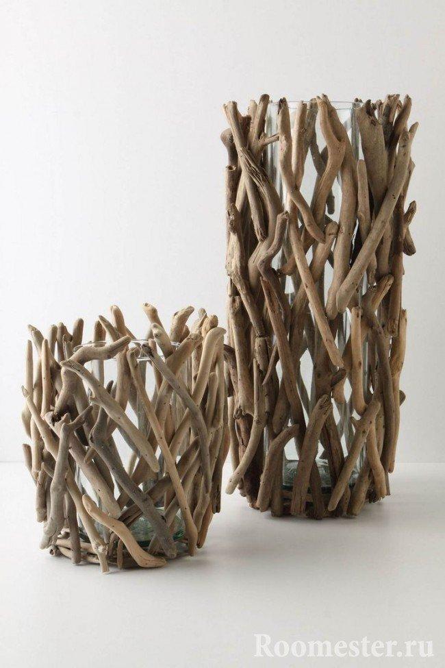Декорирование вазочек с помощью веток дерева