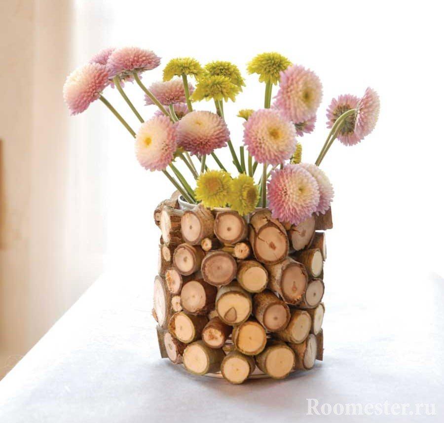 Декор вазы спилами