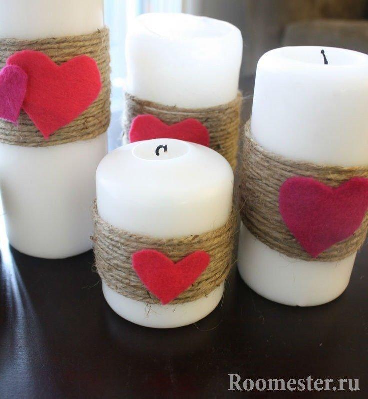Декор свечей к 14 февраля