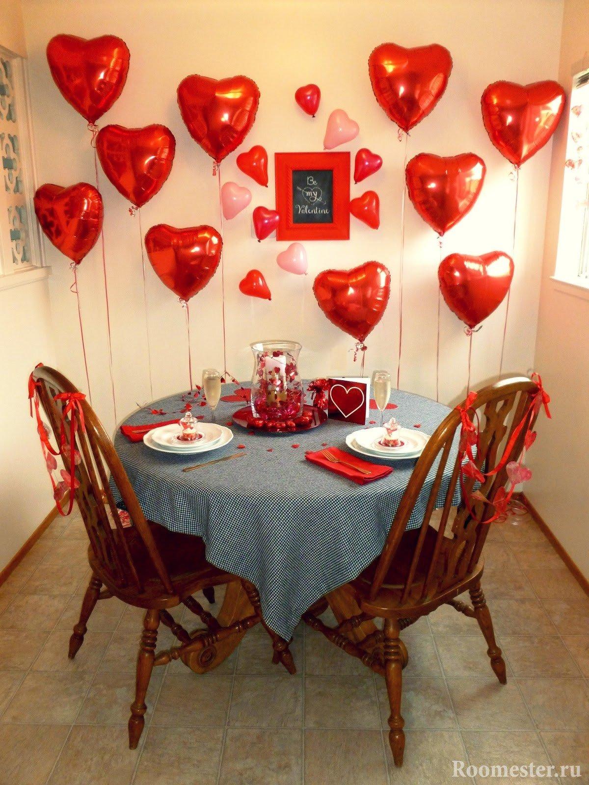 Украшение комнаты к романтическому ужину
