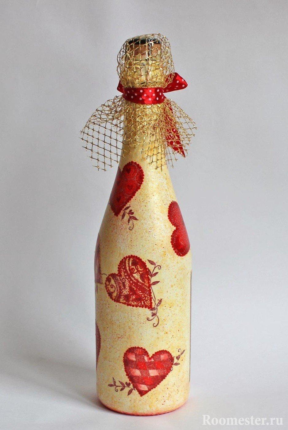 Декор бутылки ко дню святого Валентина