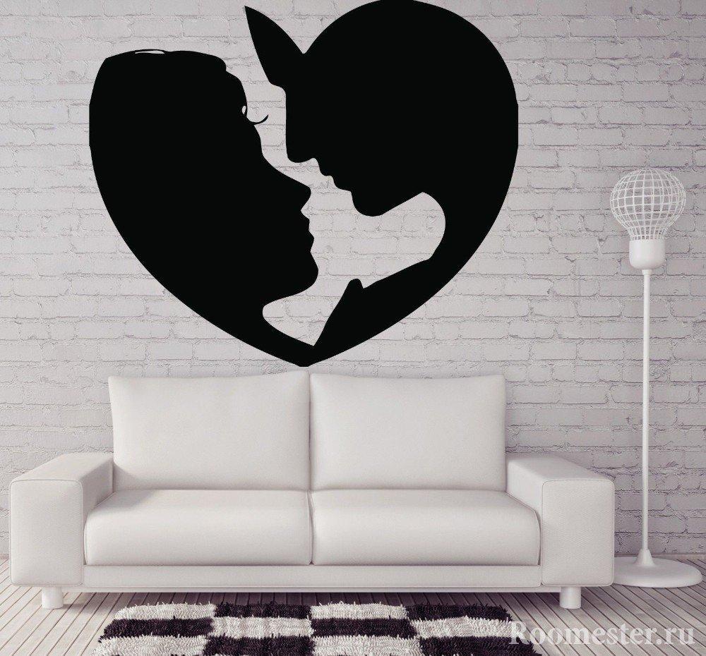 Декор на стену с профилем влюбленной пары