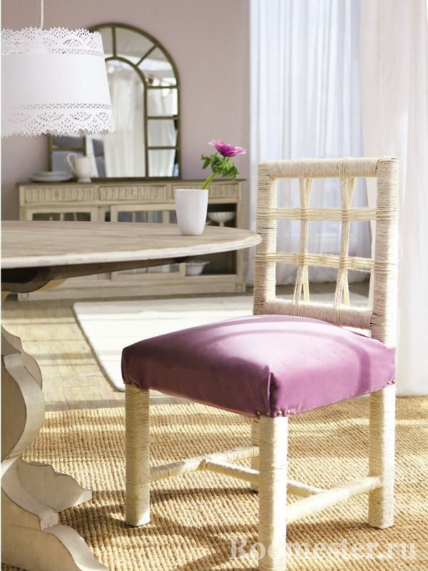 Декор стула веревкой