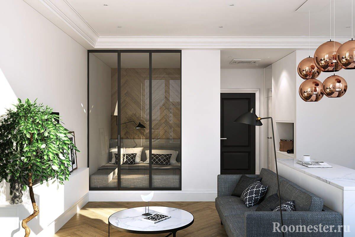 Комната 18 кв м с кроватью