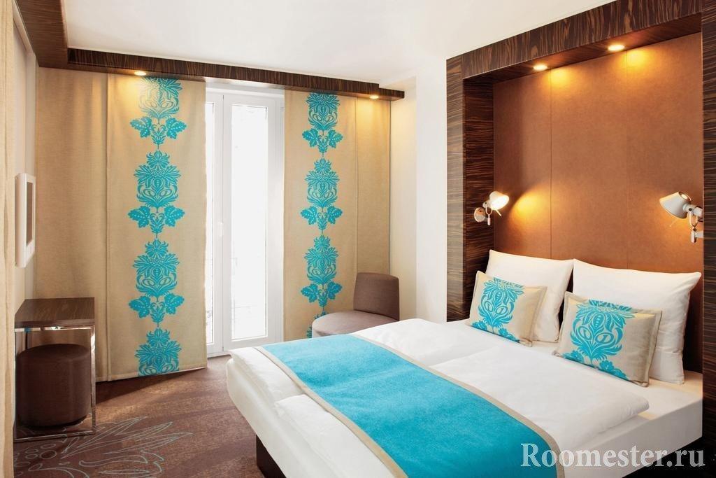 Японские шторы в спальне