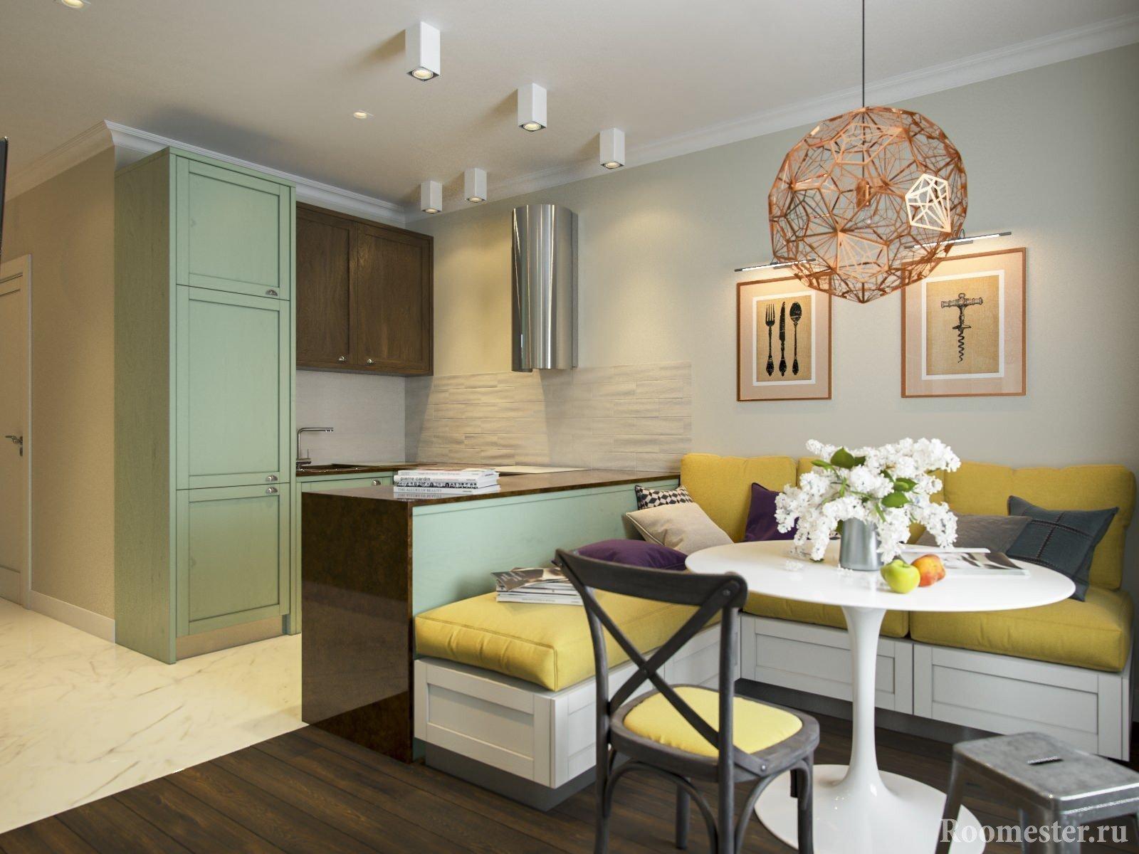 Кухонный уголок и гостиная
