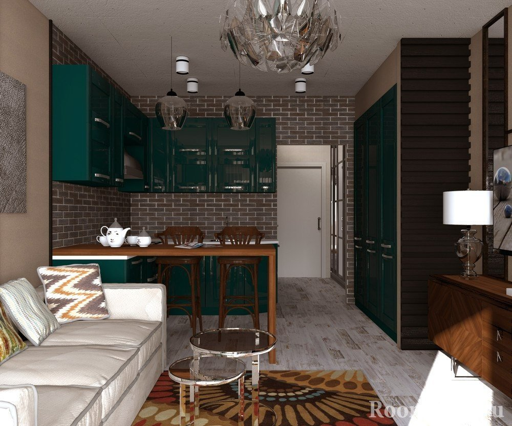 Зонирование комнаты с помощью разной отделки стен