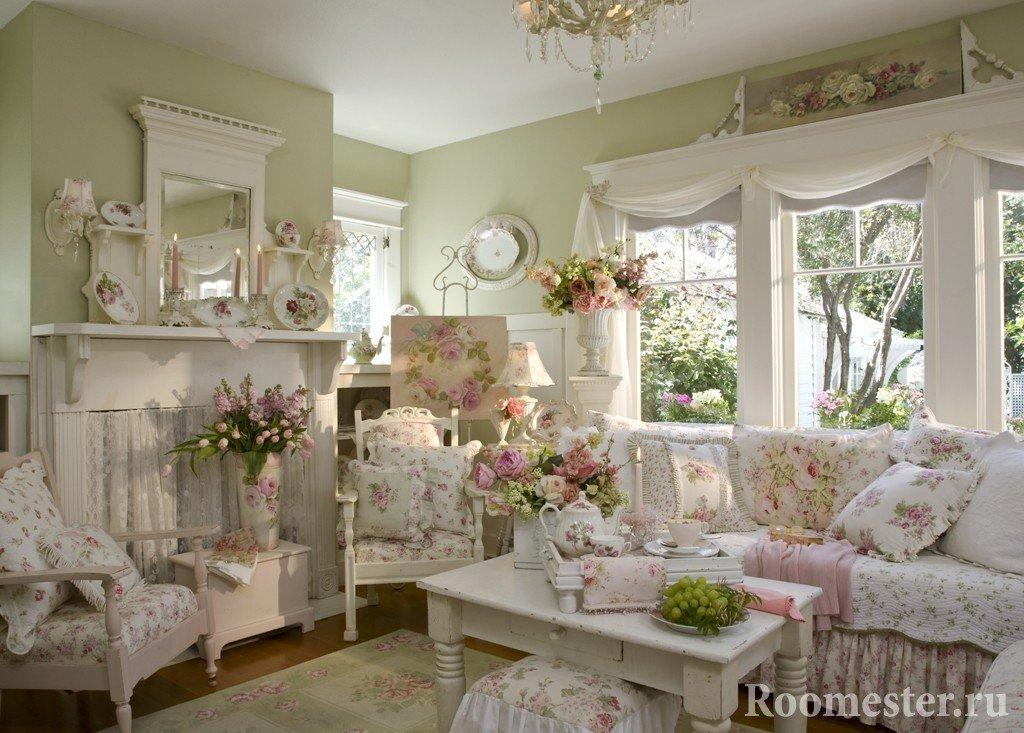 Интерьер гостиной в стиле прованс под весенний декор