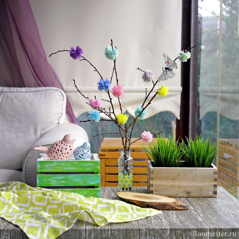 Украшение сухих веток бабочками и цветами сделанными своими руками