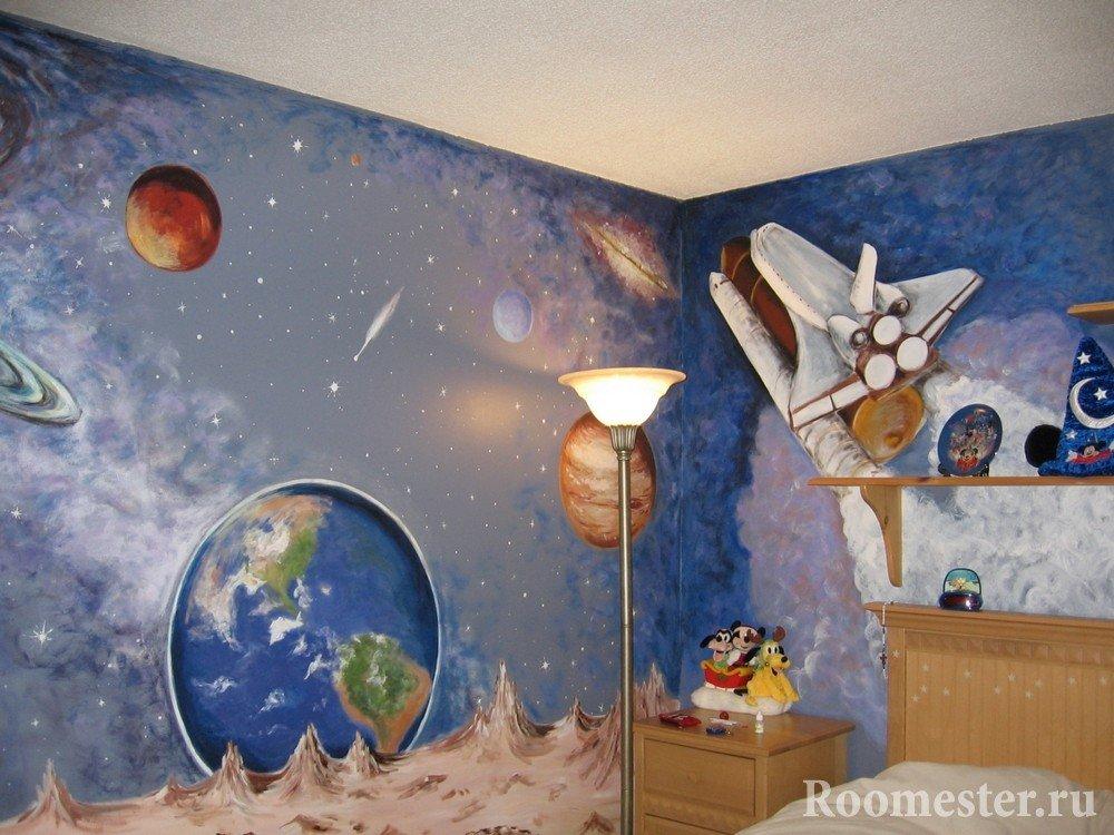Вид космоса на стенах детской