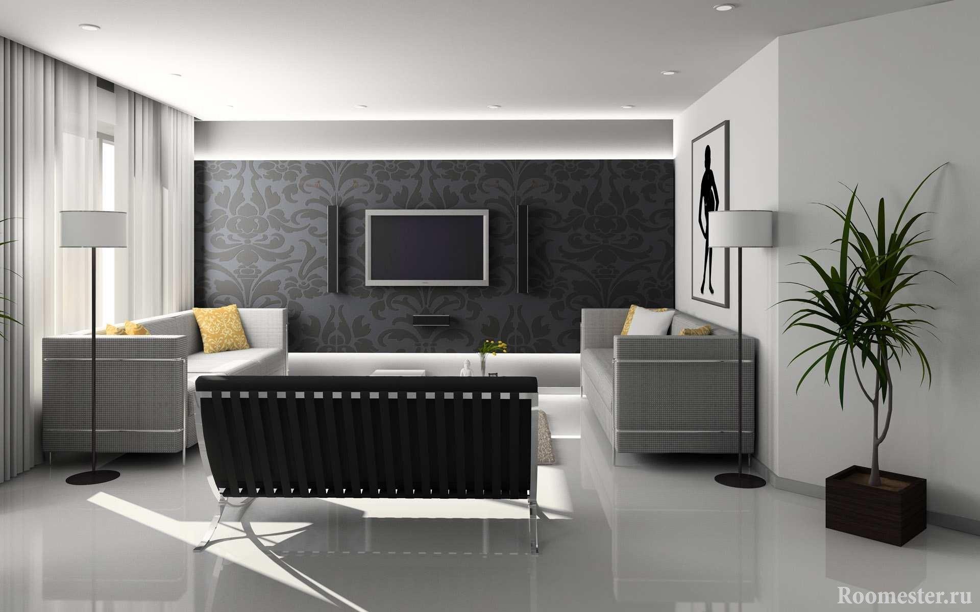 Сочетание черного и белого цветов в интерьере