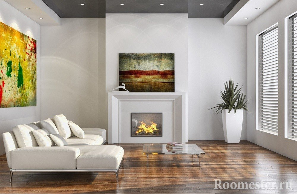 Оригинальные картины над камином и диваном
