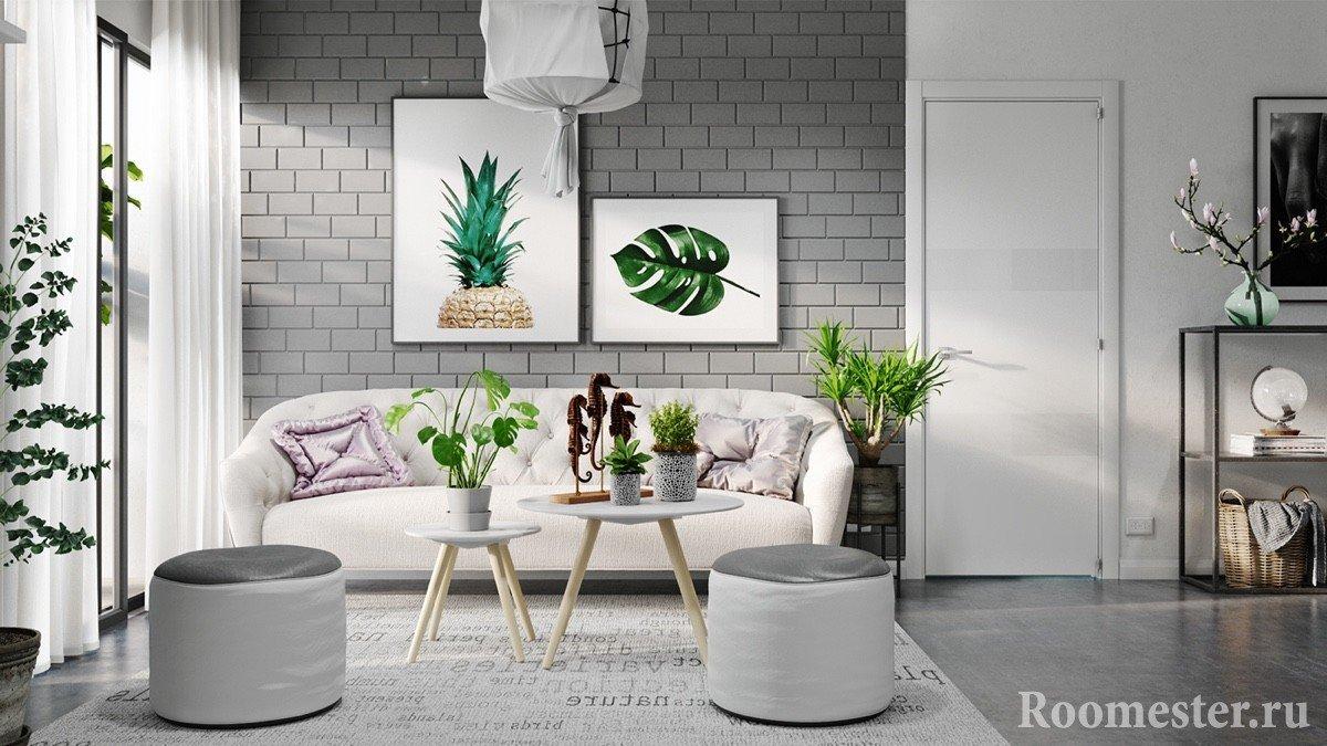 Сочетание белого и серого цветов в интерьере
