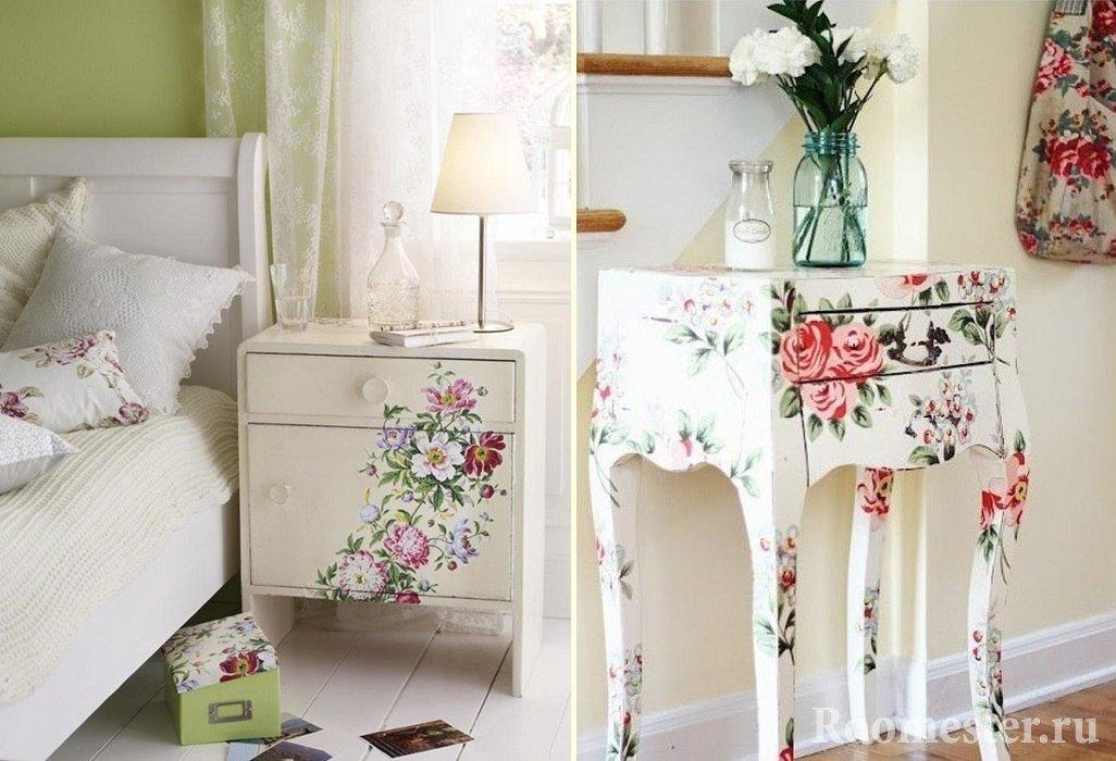 Узоры из цветов на тумбочке и столике
