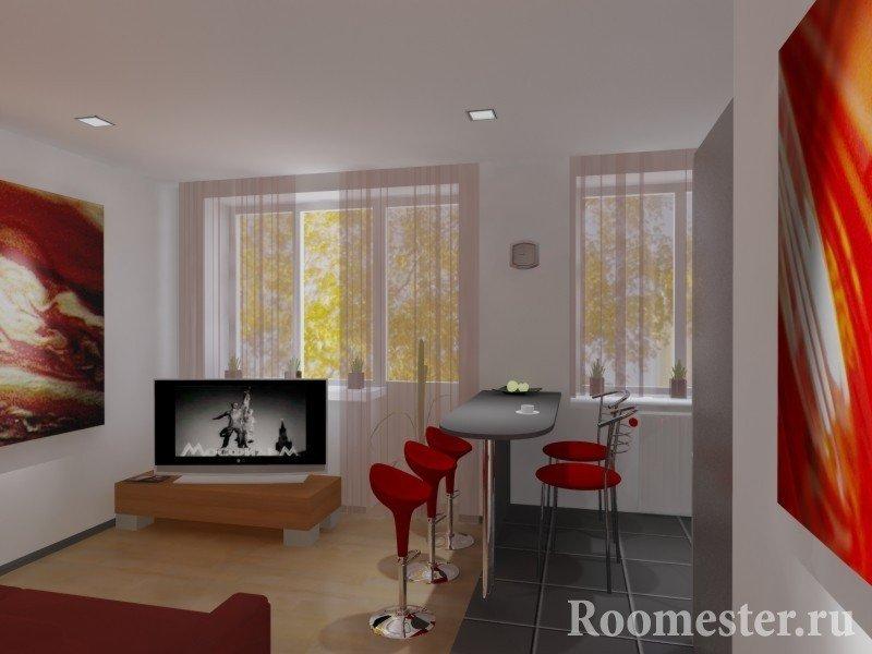Белая комната с красными предметами интерьера