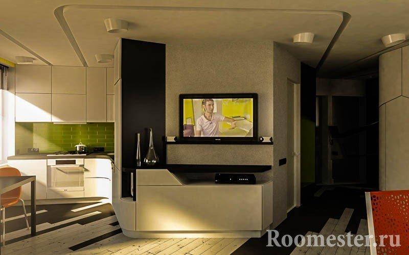 Телевизор на стене в комнате