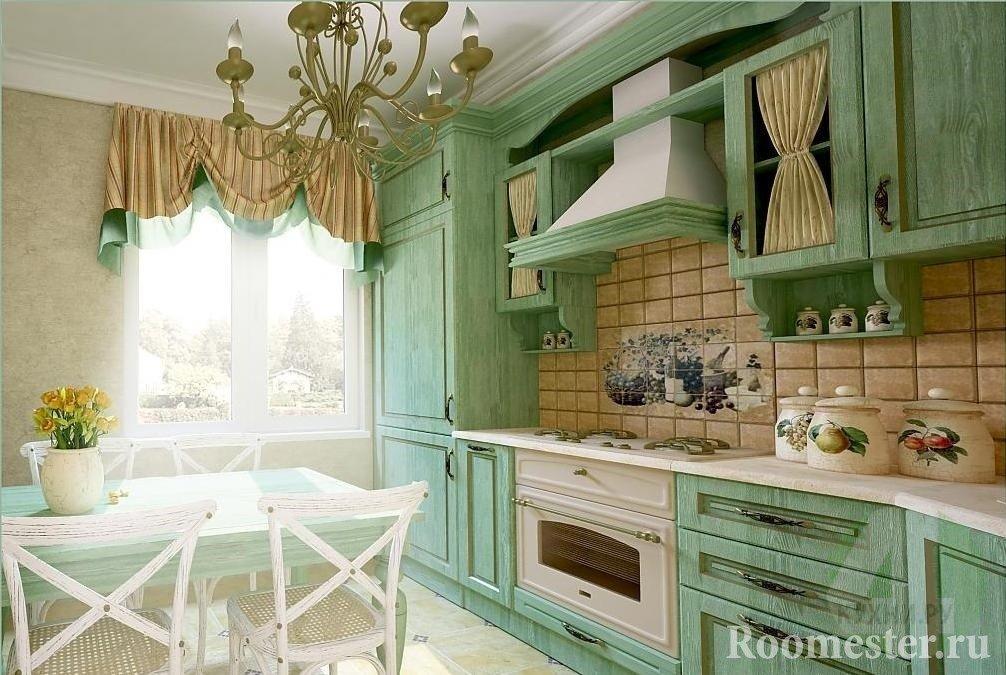 Зеленая мебель в сочетании с бежевыми занавесками и плиткой