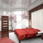 Сакура на стене спальни