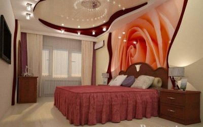 Дизайн потолка в спальне +70 фото идей оформления