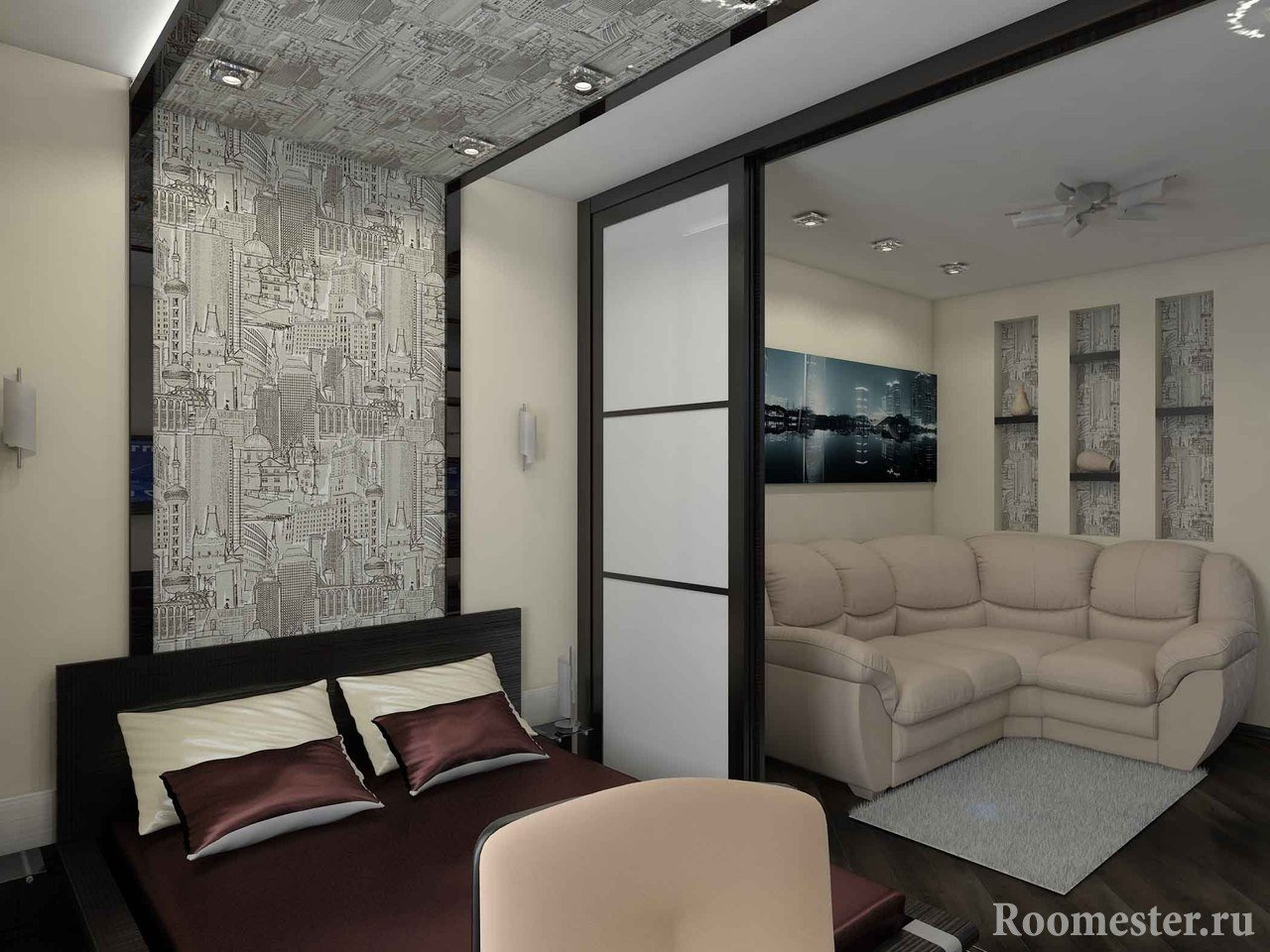 Картина с городским пейзажем над диваном