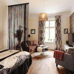 Оригинальный интерьер спальни и гостиной