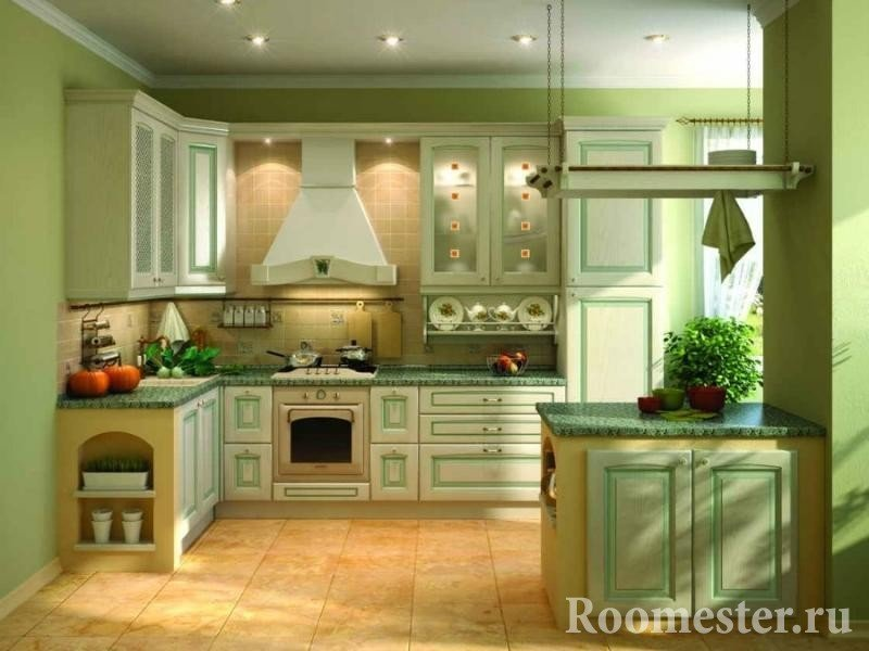 Мебель в цвет стен на кухне