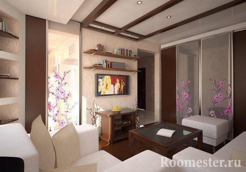 Сочетание белой и коричневой мебели в гостиной