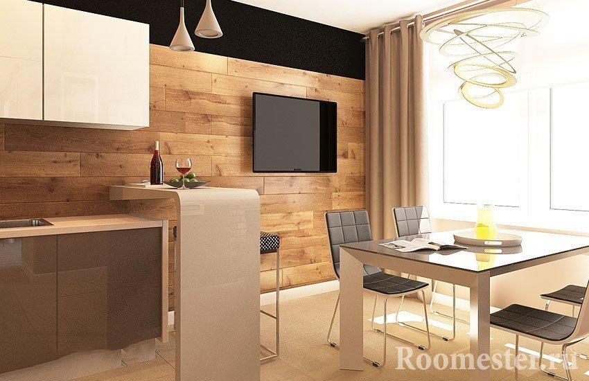Телевизор на кухне напротив стола