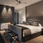 Строгое оформление интерьера спальни