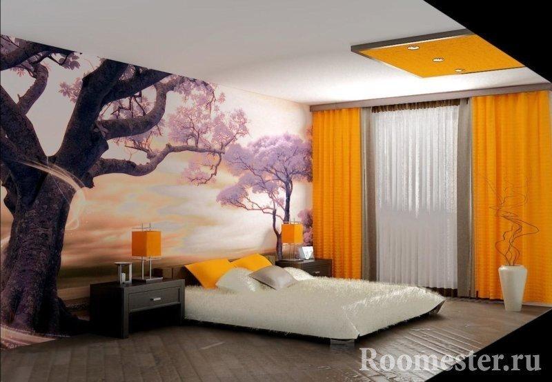 Фотообои с сакурой и оранжевые шторы в спальне