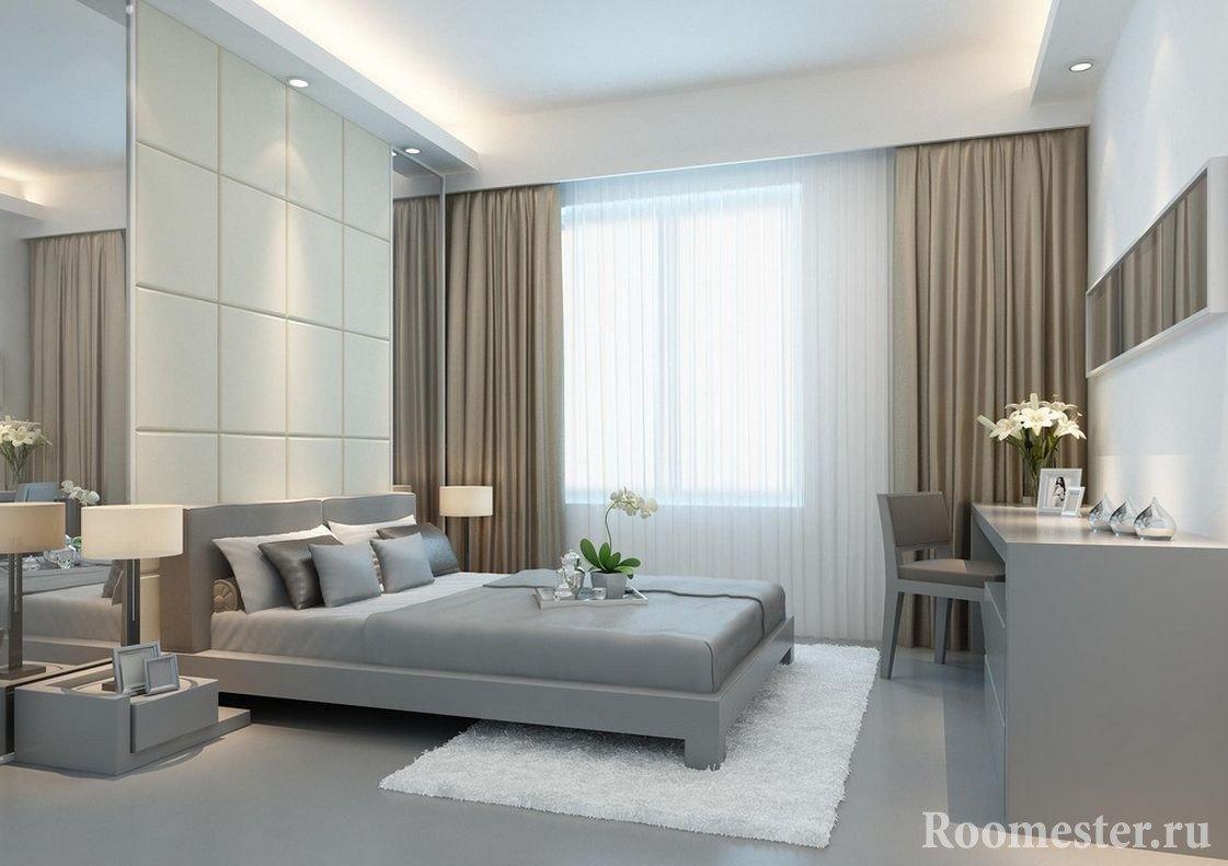Коричневые шторы и серые тона в спальне