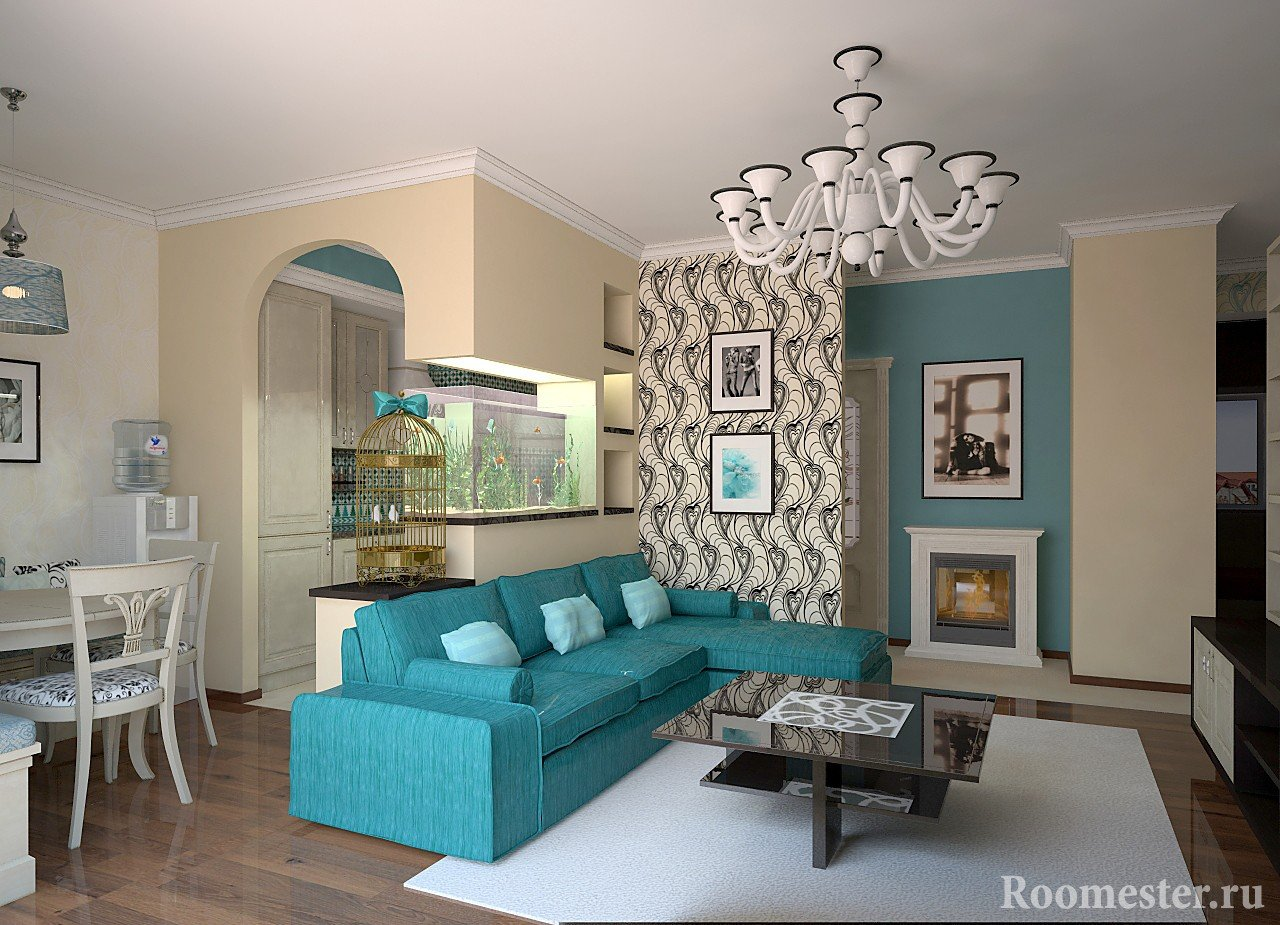 Бирюзовый диван и белый ковер в интерьере