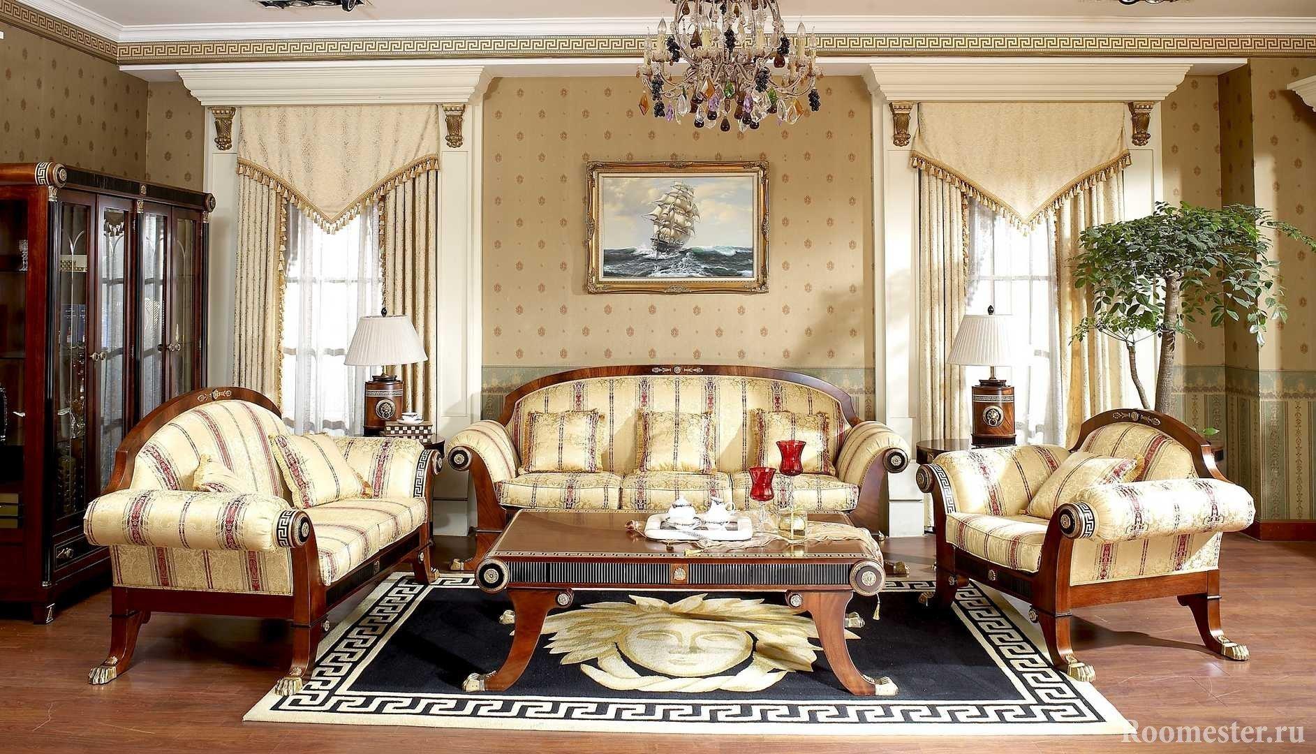 Шикарная мягкая мебель и столик в гостиной
